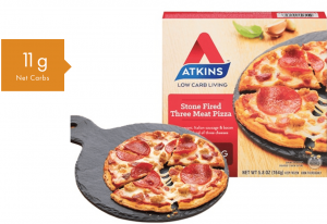 the atkins stone fired three meat pizza