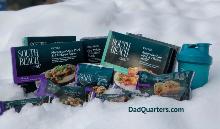 a selection of south beach diet meals in the snow