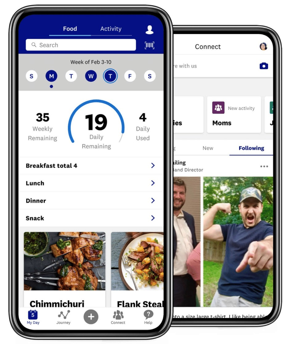 the weight watchers app on an iPhone