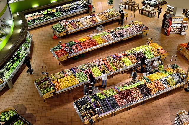 an overhead view of the produce section in a grocery store