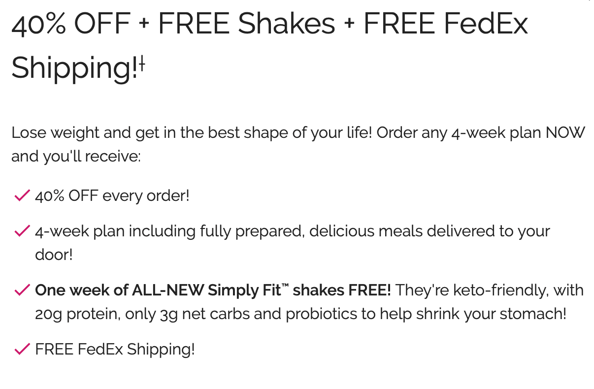 other deals being offered when you sign up for their diet